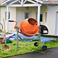 Electric Portable Cement Mixer 2 1/4 Cu Ft, Concrete Mixer Wheelbarrow Machine, Mixing Mortar Stucco Seeds, 110V (Orange Grey)