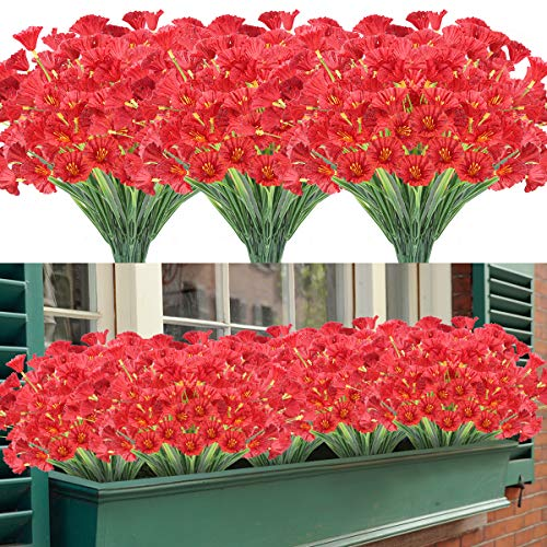 Artificial Flowers 12 Bundles Outdoor UV Resistant Fake Flowers No Fade Faux Plastic Greenery Shrubs Garden Porch Window Box Decorating (Deep Red)