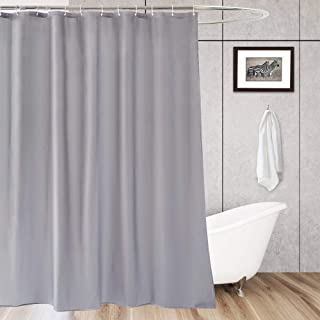 AooHome Extra Long 72x96 inch Shower Curtain Liner, Fabric Waterproof Bathroom Curtain for Hotel with Hooks, Weighted Hem, Light Grey