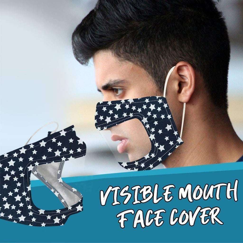 Print3 5Pcs Reusable Face Covering Protection with Eyes Shield Clear Window Visible Expression For The Deaf And Hard Of Hearing