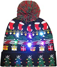 iNoDoZ Merry Winter LED Light-up Knit Hat Beanie Hairball Warm Cap Gifts