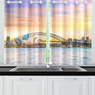 QXXIA Blackout Curtains for Kitchen Eyelet Thermal Insulated Room Downtown Sydney Skyline Australia Twilight Curtains for Living Room, 2 Window Curtain Panels