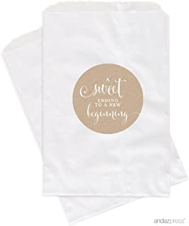 Andaz Press Dessert Table Party Favor Bags, A Sweet Ending to a New Beginning, Kraft Brown, 24-Pack, For Wedding Baby Shower Graduation Candy Buffet Treat Bags