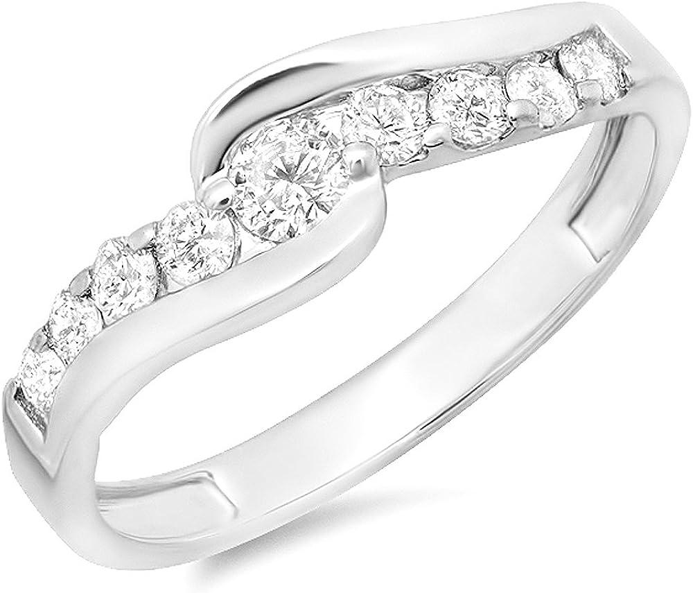Dazzlingrock Collection 0.50 Carat (ctw) 14k Round Diamond Ladies Bridal Swirl Wave Promise Engagement Ring 1/2 CT, White Gold