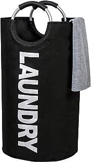 WISHPOOL ランドリーバスケット 洗濯物入れ 折り畳み式 撥水加工 防水 取っ手付き 容量81L 耐荷重15KG 収納袋 幅38×高さ72(cm) (ブラック)