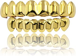 18K Gold Plated Gold Finish 8 Top Teeth & 8 Bottom Tooth Hip Hop Mouth Grills