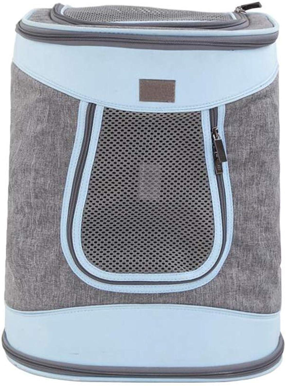 FJH Pet Backpack Out Shoulder Bag Dog Backpack Cat Backpack Out Carrying Bag Cat Bag Travel Bag (color   bluee)
