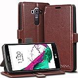 LG G4 Wallet Case - VENA [vFolio | Genuine Leather] Slim Vintage Flip Wallet Stand Case with Card Slots for LG G4 2015 (Not Compatible with Leather LG G4) (Brown/Black)