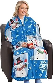 Collections Etc Snowman Fleece Cuddle Wrap Blanket with Zipper Standard