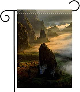 Custom Double Sided Seasonal Garden Flag Beautiful Sunrise of travel place with morning mist at Phu Langka National Park in Phayao Province Garden Flag Waterproof for Party Holiday Home Garden Decor