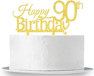INNORU Happy 90th Birthday Cake Topper - Gold Acrylic 90th Birthday Party Decoration Supplies