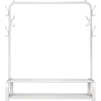 JURMERRY Porte-Manteau en m/étal avec Rangement /à 2 Niveaux pour Couloir de Bureau /à Domicile Blanc