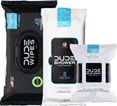 DUDE Wipes Flushable (48ct), DUDE Shower Body Wipes (8ct), & DUDE Face Wipes (30ct) Unscented with Vitamin-E & Aloe - Head...