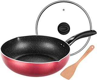 Yjdr Cuisine standard Wok Pan avec couvercle Premium et Bonus Bamboo Spatule, avec poignée ergonomique et anti-rayures de ...