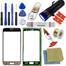 for Samsung Galaxy J3 Screen Replacement, Sunmall Front Outer Lens Glass Screen Replacement Repair Kit for Samsung Galaxy J3 J320F J320P J320M J320Y J3109 J320 with UV Glue UV Torch (Gold)