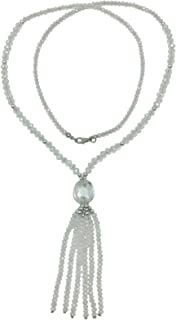 Long All Glass Beaded Tassel Necklace