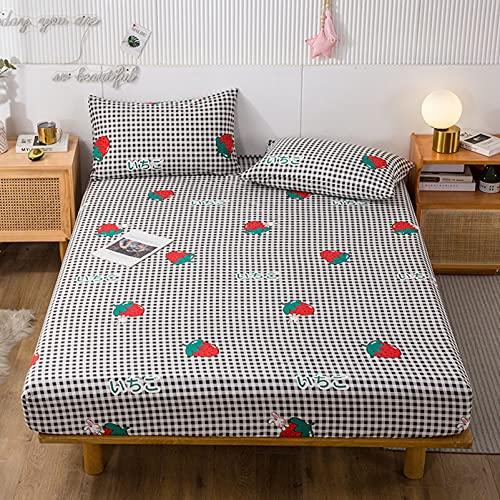 Kseyic Sábana bajera con estampado floral, estilo vegetal, funda de colchón infantil, con banda elástica, 100% microfibra, multicolor (06,150 × 200 cm)