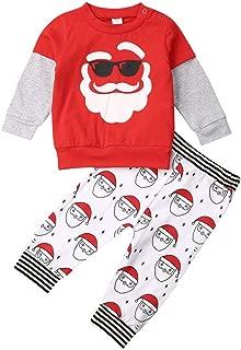 2PCS Christmas Costume Toddler Baby Boys Girls Outfits Santa Print Long Sleeve T-Shirt Tops Pants Set