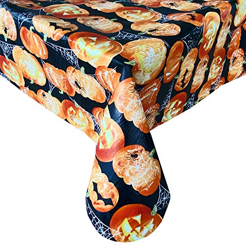 Newbridge Glowing Jack O Lanterns Halloween Vinyl Flannel Backed Tablecloth - Scary Carved Pumpkins, Spiders and Webs Halloween Tablecloth, Easy Care Wipe Clean, 60 in x 102 in Oblong/Rectangle