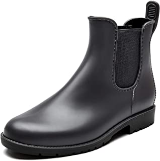 Rain Boots for Women Waterproof Elastic Slip On Ankle Chelsea Booties