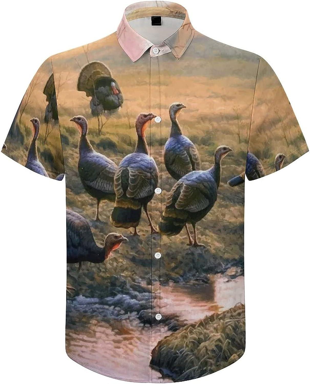 Men's Short Sleeve Button Down Shirt Wildlife Bird Forest Summer Shirts