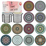 Decopom Drink Coasters Stone Mandala with Holders - 12 Pack Cute Cool Drink Coasters Absorbent Ceramic Round Edge with Cork Base and 2 Black Iron Holders for Apartment Table Bar Mugs Glasses Cup Beer