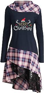 Women's Long Tunic E-Scenery Merry Christmas Print Lace Plaid Panel Loose Tops Blouse