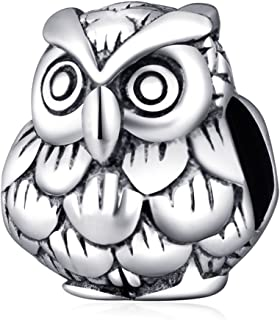 Choruslove Wise Owl Lucky Animal Charm Antique 925 Sterling Silver Bead for European Style Bracelet Jewelry