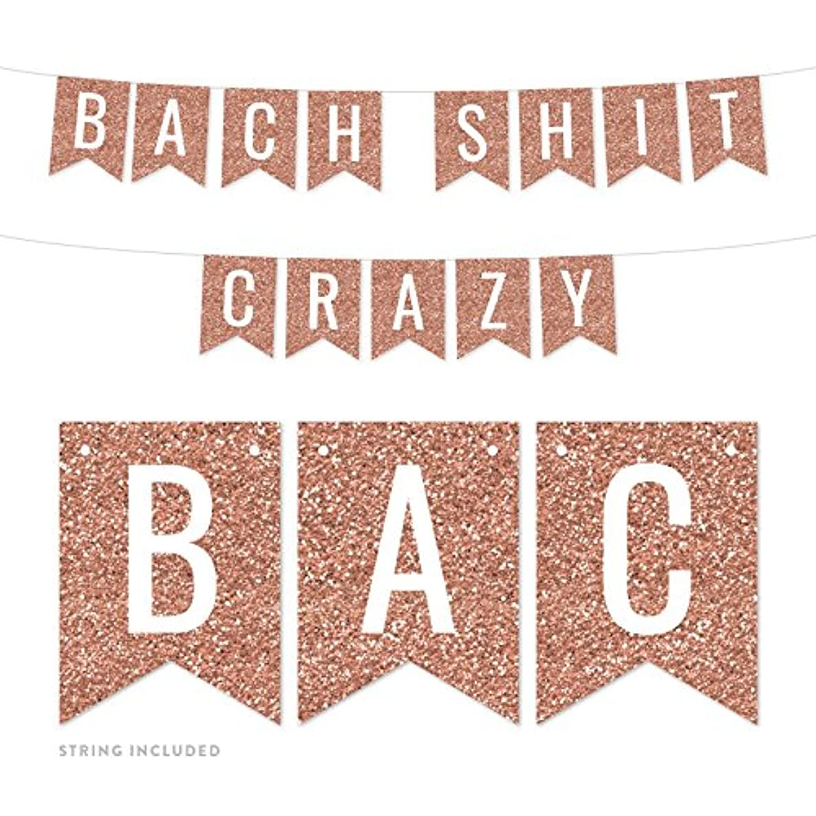 Andaz Press Rose Gold Faux Glitter Background Bridal Shower Bachelorette Party Banner Decorations, Bach Shit Crazy, Approx 5-Feet, 1-Set, Champagne Colored Hanging Pennant Decor