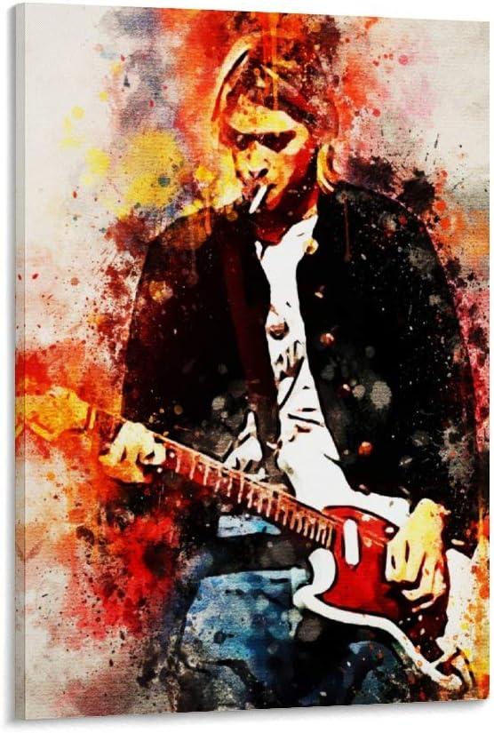 Póster decorativo de Zhengdong Kurt Cobain con guitarra de 40 x 60 cm