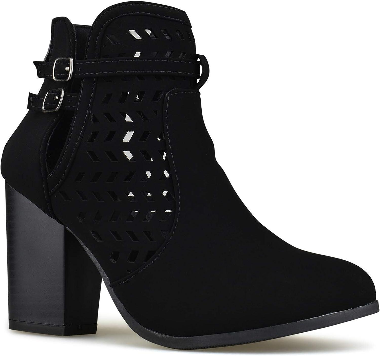 Zgshnfgk - Women's Strappy Buckle Ankle Bootie - Low Heel Casual Comfortable Walking Boot