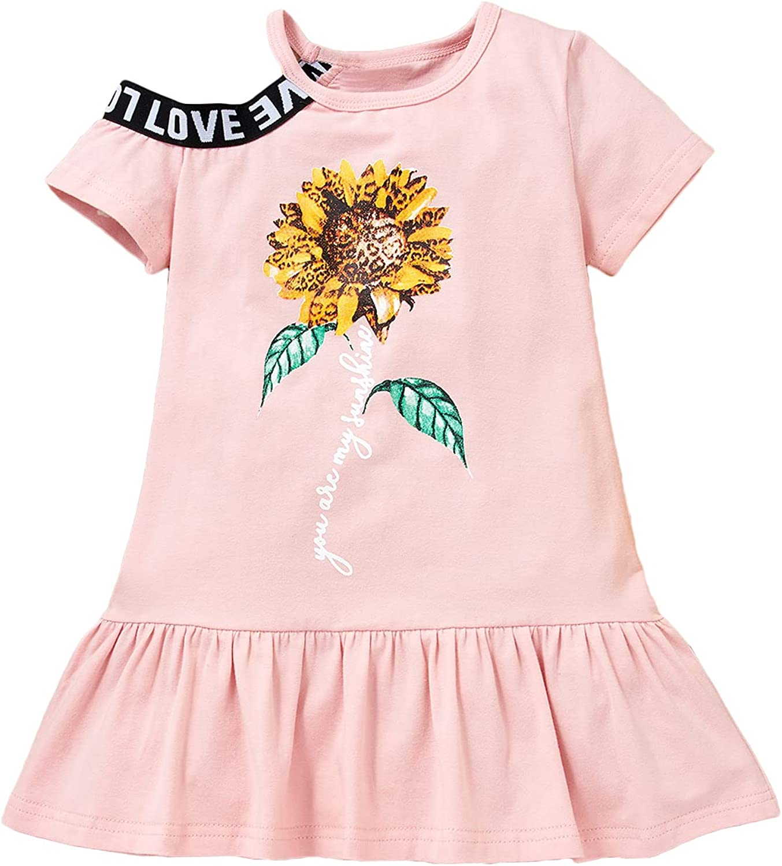 Alunsito Toddlers Little Girls Dress Summer Short Sleeve Sunflower Tunic T-Shirts Dress Kids Print Skirt