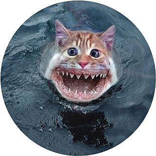 DIDIDI Shark Cat Interesting Art Non-Slip Round Circle Throw Area Ground Mat Accent Floor Party Bedroom Door Decorations Kitchen Bathroom Decor Welcome Entryway Rug Sign Ornament