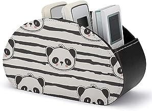 Boîte de rangement pour support de télécommande TV avec 5 compartiments-PU cuir noir et blanc bande d'ours panda stockage ...