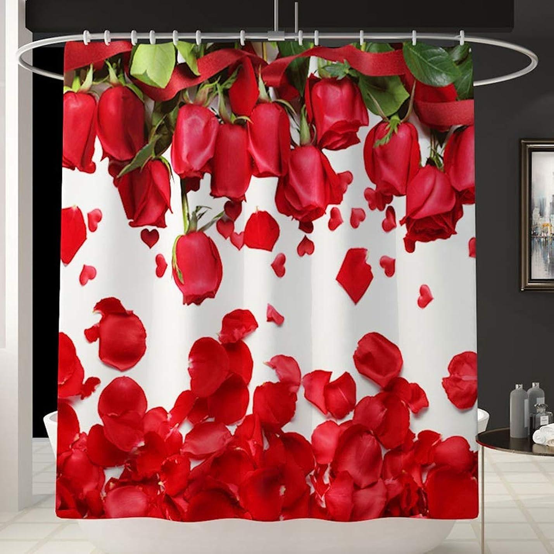 スケジュール赤ちゃんハッピーバス用品 バラの花びらパターン楽しい防水シャワーカーテンバスアカウントバスルーム防水カーテンは色を退色させません多目的な快適なバスタブシャワーカーテンマシンウォッシャブル180cm * 180cm 浴室用