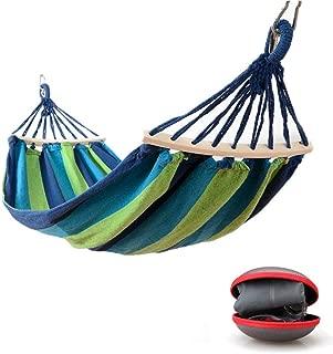 Easy Eagle Hamaca Colgante para Jardin Camping | MAX 300kg de Capacidad de Carga, (200 x 100 cm) | Hamacas Grande con Barras Extendidas | Rayas Azul-Verdes