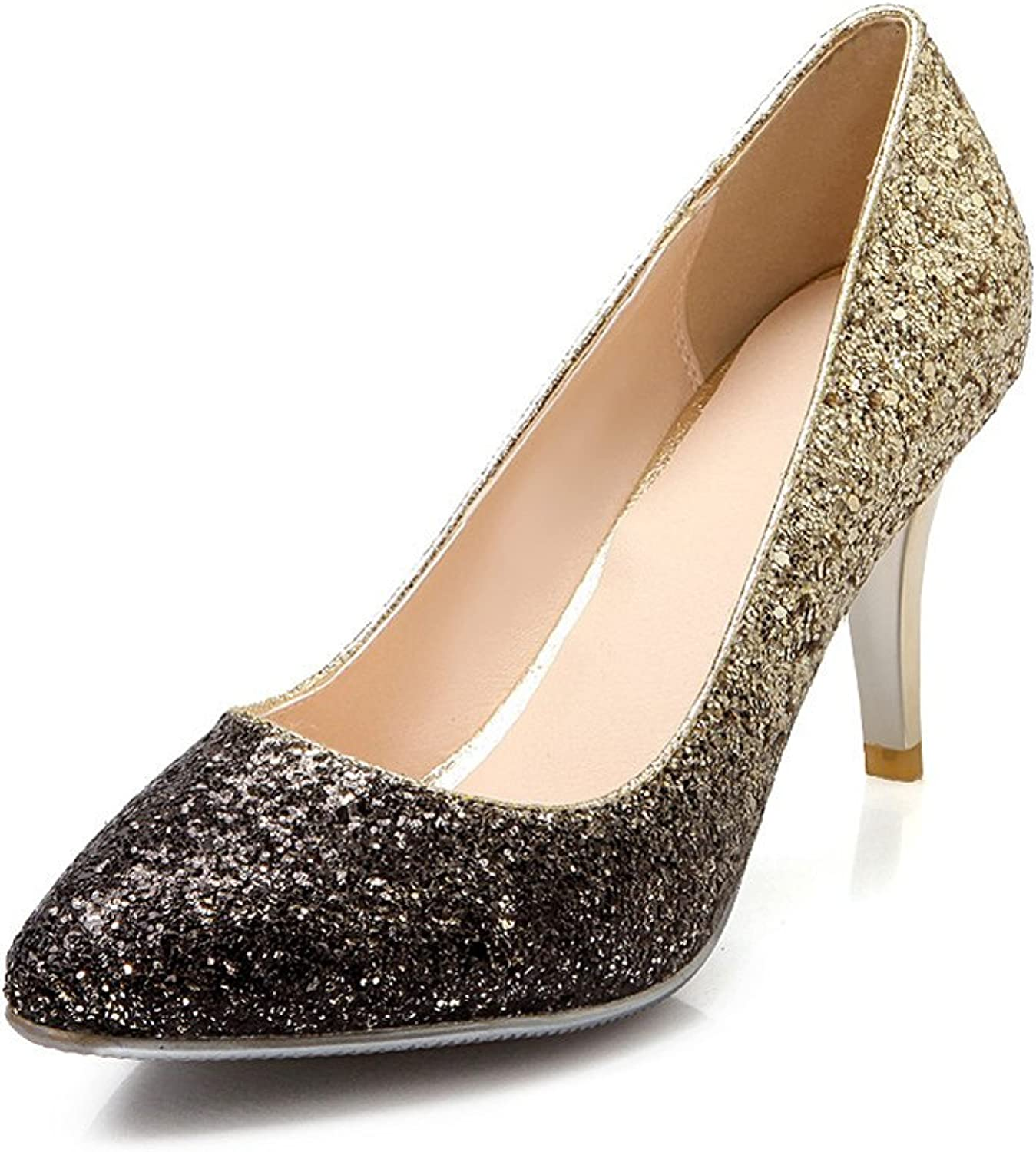 Lucksender Womens Fashion Pointed Toe High Heel Party Wedding Dress Pumps with Sparkling Sequins