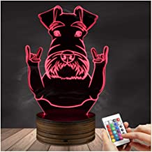 3D LED Lamp Optical Illusion Schnauzer Night Light, USB Powered Remote Control Changes The Color of The Light, Bedroom for Children's Gifts Home Decoration Zjnhl Exquisite Gift