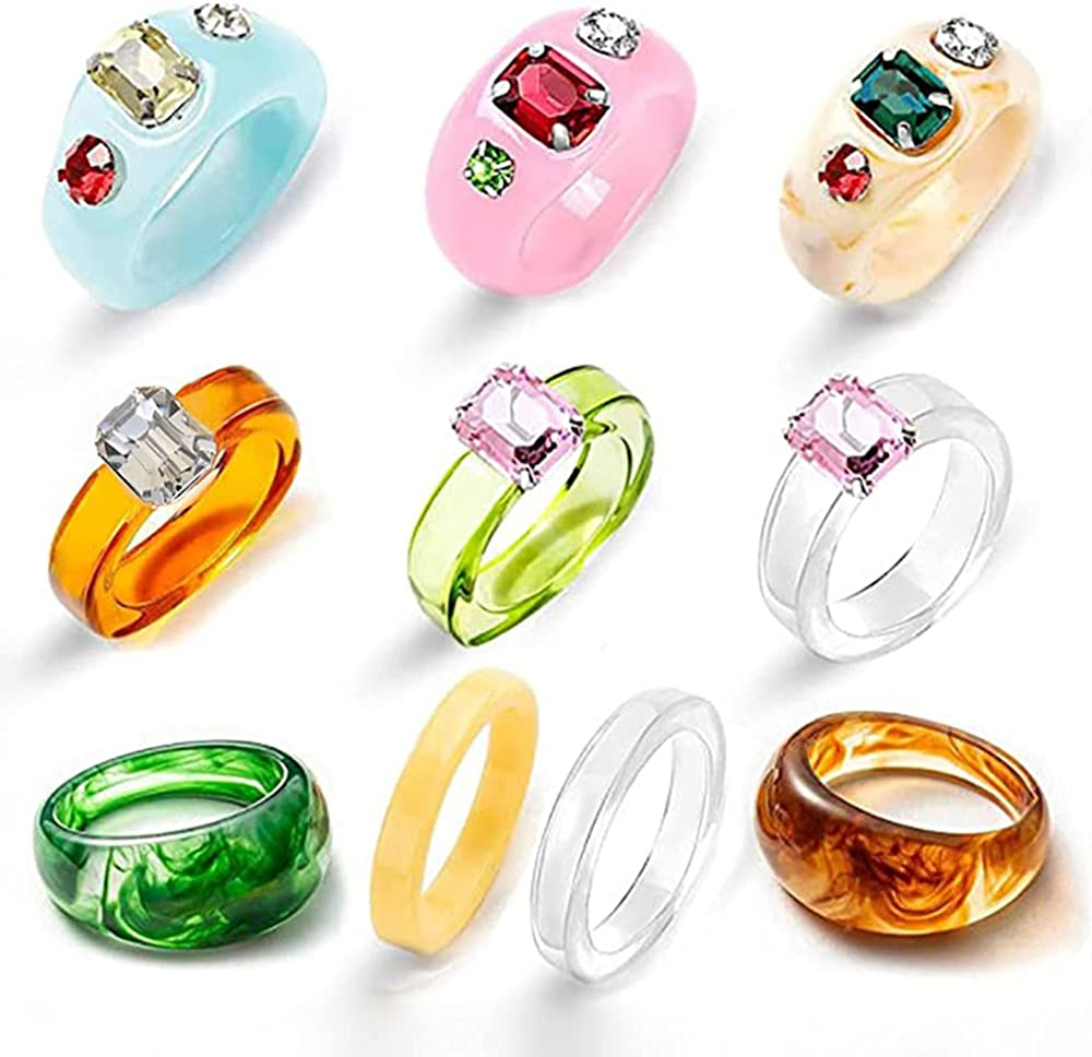 SEVENSTONE 9Pcs Resin Retro Acrylic Colorful Chunky Ring Cute Trendy Colorful Rhinestone Y2k Jewelry Plastic Resin Square Gem Stackable Chunky Rings for Women Set