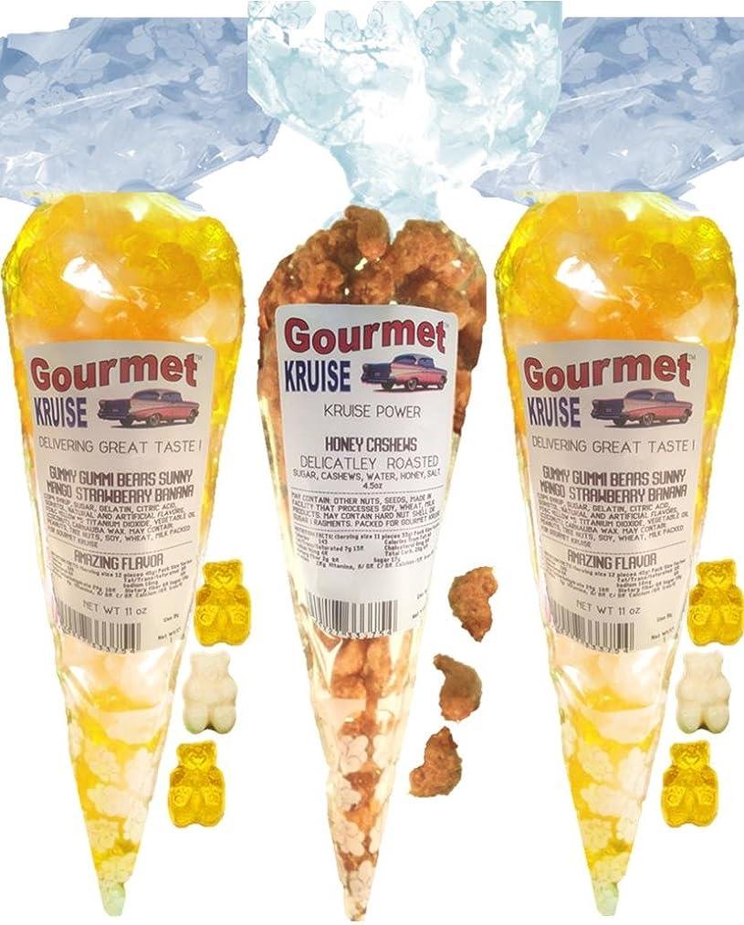 Yellow White Gummy Bears (2) Sunny Mango Strawberry Banana (1) Cashews Honey Roasted Delicately (NET WT 26.5 OZ) Gourmet Kruise Signature Gift Bags Gummi Go Nuts
