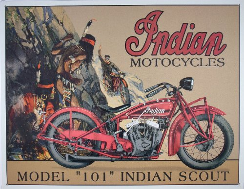 Poster Discount Desperate Enterprises Indian Scout Motorcycle Collectible Metal Sign, 16x13