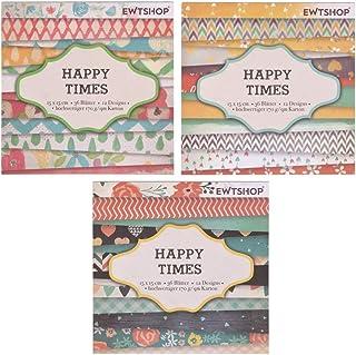 ewtshop 3Blocs de 36Feuilles à Motifs – Papier Design, Papier de Loisirs créatifs, Papier de décoration – Total de 108F...