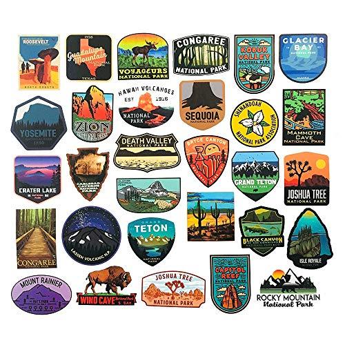 BLOUR 100 Uds.Pegatinas del Parque Nacional de Yellowstone, calcomanías de Viaje al Aire Libre para Coche, Bicicleta, Motocicleta, Maleta, portátil