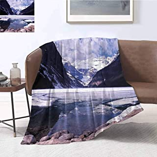 Winter Comfortable Large Blanket Lake Louise Alberta Canada Tourist Attraction Landscape Mountains Travel Vacation Microfiber Blanket Bed Sofa or Travel W60 x L70 Inch
