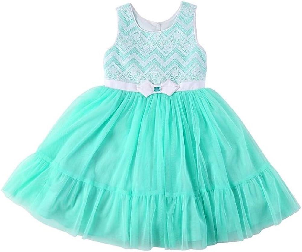 Jona Michelle Girls Chevron Dress, Mint Chevron