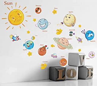 Filly Wink Kids Educational Space Wall Decals Wall Stickers Peel and Stick Removable Solar System Planets & Stars Wall Art Sticker Decor for Boys Girls Nursery Bedroom Living Room Playroom Classroom