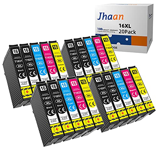 Jhaan 16XL Cartuchos de Tinta para Epson 16 XL Compatible con Epson WF-2010 WF-2510 WF-2520 WF-2530 WF-2540 WF-2630(20 Pack)