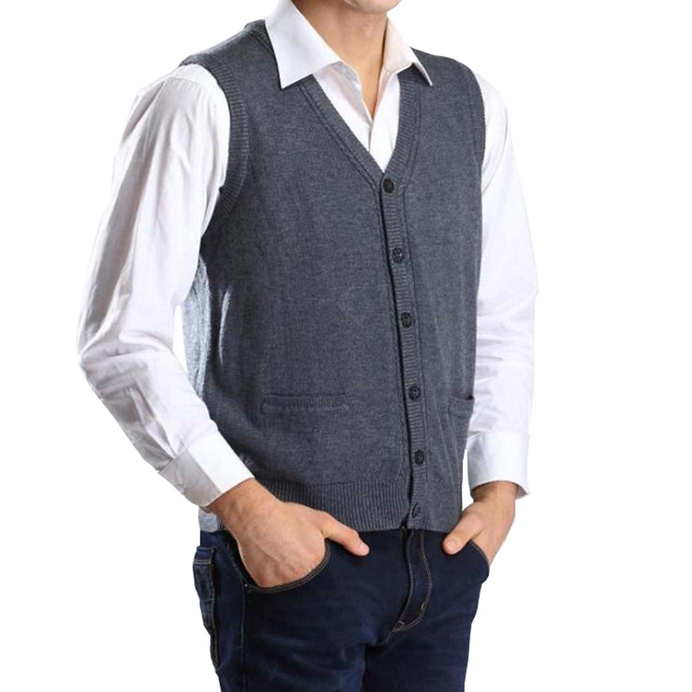 ウール副進化するFEVON ベスト メンズ ニット ウール混 ニットベスト Vネック 前開き 無地 シンプル チョッキ ポケット付き ニットセーター 袖なし おしゃれ トップス 暖かい 保温 ビジネス カジュアル