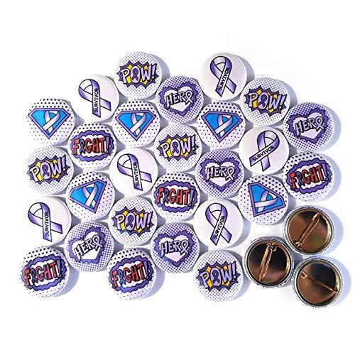 "Superhero Awareness Pins - PURPLE LAVENDER (1"" Pins, 30 Piece Set)"