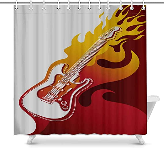 Details about Music Shower Curtain Acoustic Guitar Notes Print for ...